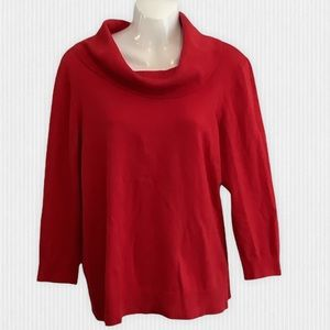Peter Nygard Red Cotton Blend Cowl Neck Sweater L